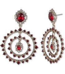 marchesa gold-tone stone & crystal orbital drop earrings