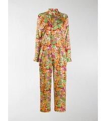 plan c floral long-sleeve jumpsuit