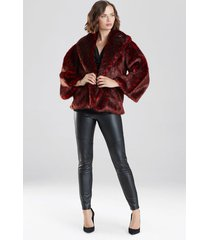 natori leopard faux fur jacket, women's, red, size m natori