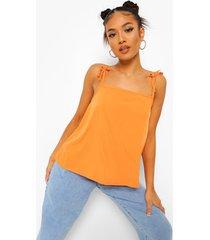 petite geweven hemdje met vierkante hals, orange