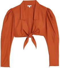 weworewhat women's puffed-sleeve cotton cropped top - orange - size l