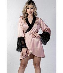 robe curto  yasmin lingerie perola  com preto - feminino - dafiti