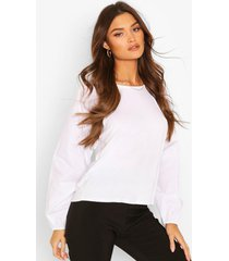 big sleeve cotton mix and jersey contrast blouse, white