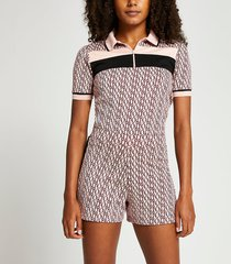 river island womens pink ri monogram elasticated waist shorts