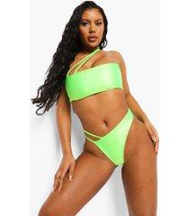 asymmetrisch bikini broekje met bandjes, lime