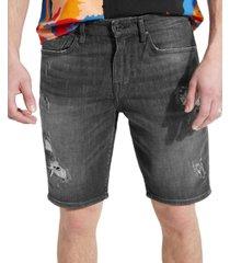 guess men's slim fit rip and repair denim shorts