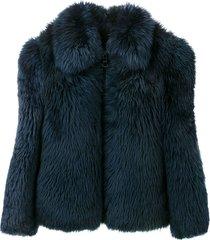 a.n.g.e.l.o. vintage cult 1980's fur bomber jacket - blue