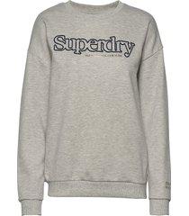 applique serif crew ub sweat-shirt tröja grå superdry