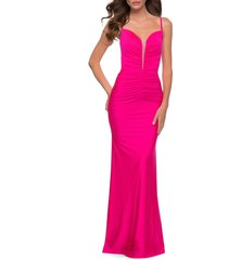 la femme le femme neon pink ruched jersey gown, size 00 at nordstrom