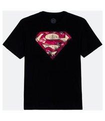 camiseta masculina com estampa super homem | dc comics | preto | g