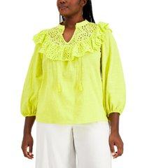inc plus size cotton eyelet ruffle blouse, created for macy's