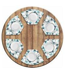 jogo americano love decor  para mesa redonda wevans green triangle kit com 6 pçs