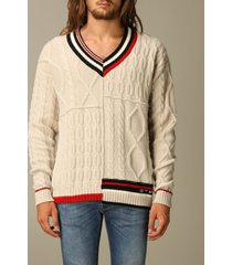 etro sweater etro sweater in woven wool with striped edges