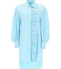 msgm shirt dress with ruffles