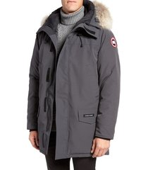 men's canada goose langford slim fit down parka with genuine coyote fur trim, size large - grey
