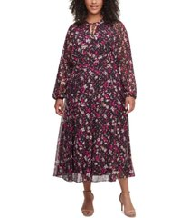 tommy hilfiger plus size carine floral midi dress