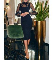 midi con lazo y patchwork de cuello alto negro vestido