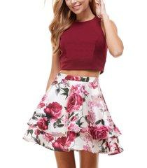 city studios juniors' 2-pc. top & floral-print dress