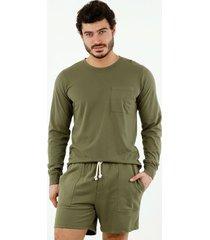 camiseta de hombre, cuello redondo, manga larga, color verde