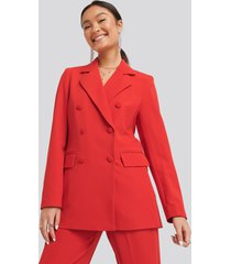 na-kd classic double breasted blazer - red
