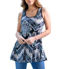 women's flared loose fit paisley print tank top