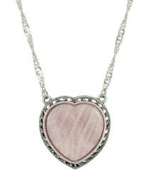 2028 silver-tone semi precious rose quartz heart necklace