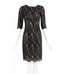 carolina herrera black lace sheath dress black sz: s