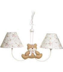 lustre 2l simples com 2 ursas com laço quarto bebê infantil menina potinho de mel