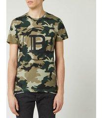 balmain men's printed camouflage t-shirt - khaki - xl