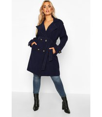 plus military detail wool look trench coat, navy