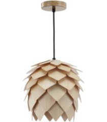 jonathan y simon pinecone wood led pendant