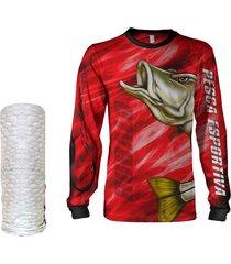 camisa  máscara pesca quisty robalo arisco vermelho proteção uv dryfit infantil/adulto - camiseta de pesca quisty