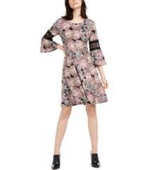 ny collection petite crochet-trim bell-sleeve dress