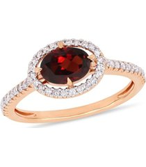 garnet (1 ct.t.w.) and diamond (1/4 ct.t.w.) halo ring in 10k rose gold