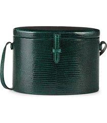 hunting season women's trunk lizard leather crossbody bag - forest green