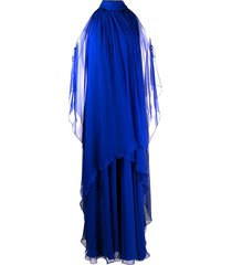 alberta ferretti halter neck draped silk dress - blue