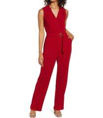 women's tahari sleeveless faux wrap jumpsuit, size 16 - red