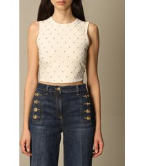 elisabetta franchi top elisabetta franchi cropped top with micro studs