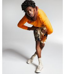 ouigi theodore for sun + stone men's orange fleece hoodie, created for macy's