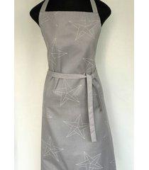 avental de cozinha star cinza 100% algodã£o jaquarde - importado de portugal - cinza - dafiti