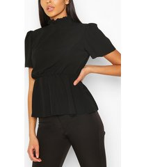 shirred high neck keyhole blouse, black
