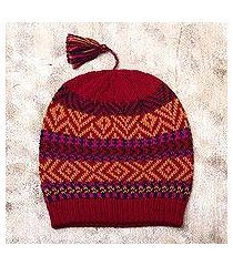100% alpaca hat, 'inca festival in red' (peru)
