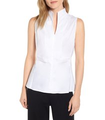 ming wang sleeveless woven shell, size x-small in white at nordstrom