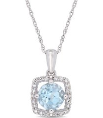 "blue topaz (1 ct. t.w.) and diamond (1/10 ct. t.w.) square halo 17"" necklace in 10k white gold"