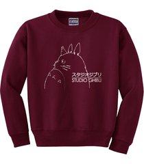 studio ghibli totoro   crewneck sweatshirt   maroon