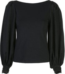 mother of pearl puffed sleeve blouse - black