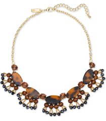 "inc gold-tone tortoise-look & wood statement necklace, 17"" + 3"" extender, created for macy's"
