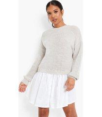 petite gebreide trui en blouse jurk, oatmeal