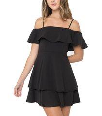 b darlin juniors' ruffled off-the-shoulder dress