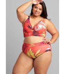 lane bryant women's mid-waist swim brief 24 vibrant palms